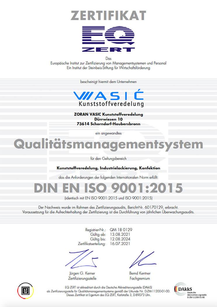 Vasić Industrielackierungen und Beschichtungen: ISO 9001:2015
